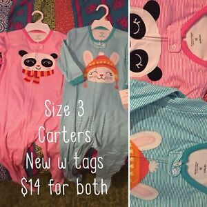 Girls Carter's size 3 cotton sleepers x2