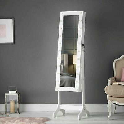 White Free Standing Full Length Mirrored Jewellery Cabinet With LED Lights