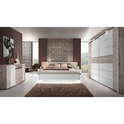 Schlafzimmer 3 Rondino Komplett Set in Sandeiche und weiß Hochglanz inkl. LED - Schlafzimmer Leder Fußteil