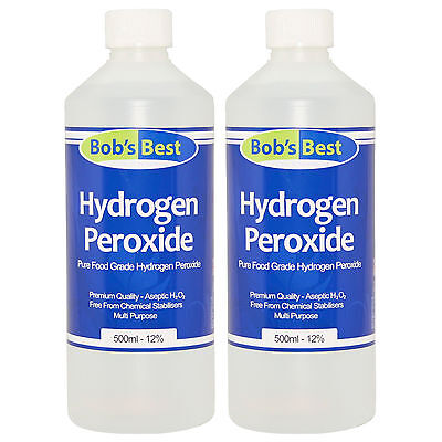 Hydrogen Peroxide - 12% Food Grade - 1000ml - Multi-Purpose & Additive Free H2O2
