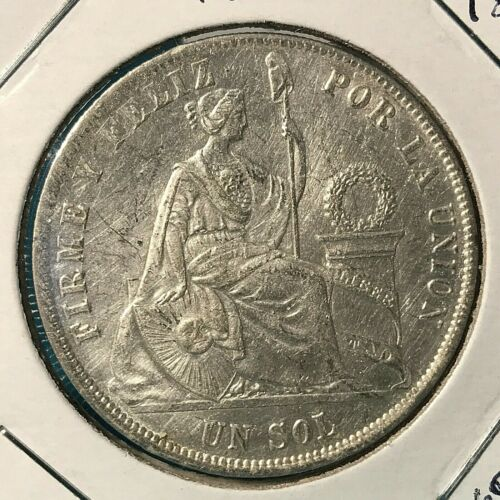 1872 YJ PERU SILVER ONE SOL HIGH GRADE CROWN COIN