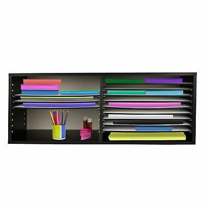 Adiroffice Black Wood 16 Shelf Adjustable Home Office Paper Storage Organizer
