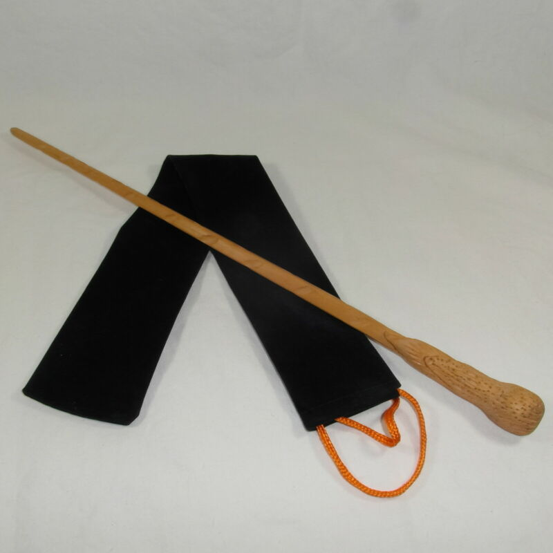 """16"""" Weasley Hand Carved Mahoe Wood Magic Wand Wizard Witch Wicca w/Velvet Bag"""