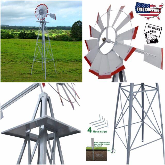 8u0027 Windmill Ornamental Garden Weather Vane Weather Resistant Silver Wind  Spinner