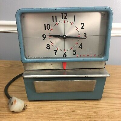 Vintage Heavy Metal Simplex Philco Time Clock Recorder Manual Punch Card