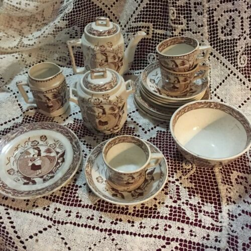 ANTIQUE PORCELAIN CHILDS TEA SET LITTLE MAY 753  SEPIA TRANSFERWARE WOOD&SONS