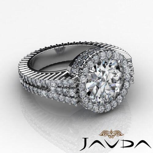 3.5ct Round Cut Diamond Halo Prong Set Engagement Ring GIA F VS2 14k White Gold 2