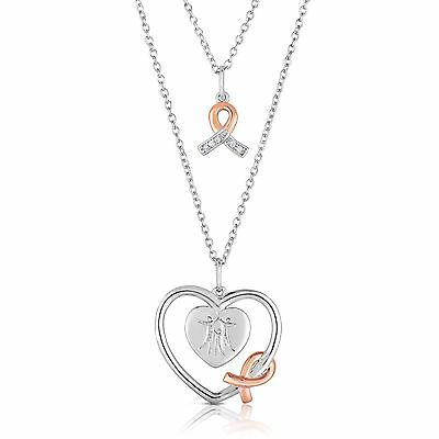 Hope Diamond Necklace - City Of Hope Diamond Accent White Heart and Pink Ribbon Necklace Pendant