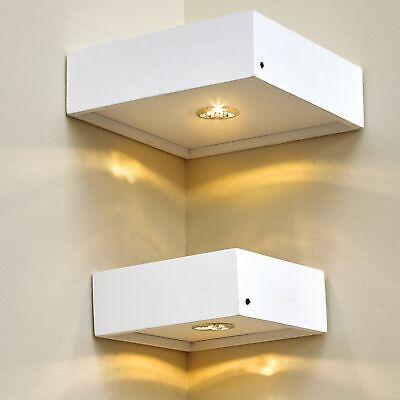 Floating Corner Wall Shelves with LED Lights - Set of 2 - White