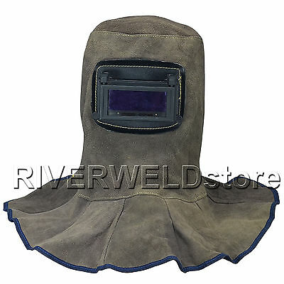 Brown Leather Welding Hood Helmet With Neck Shoulder Drape