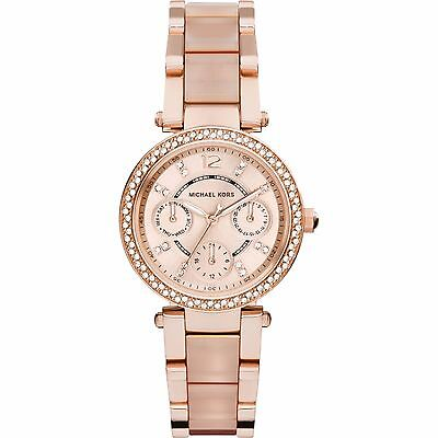 NEW MICHAEL KORS MK6110 ROSE GOLD MINI PARKER CHRONOGRAPH WOMEN'S WATCH