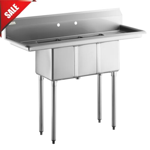 3 Compartment Stainless Steel Commercial Kitchen NSF Sink with 2 Drainboards 50""