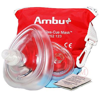Ambu CPR Pocket Res-Cue Mask ADULT & INFANT in Red Soft Zipper Case w (Ambu Cpr Mask)