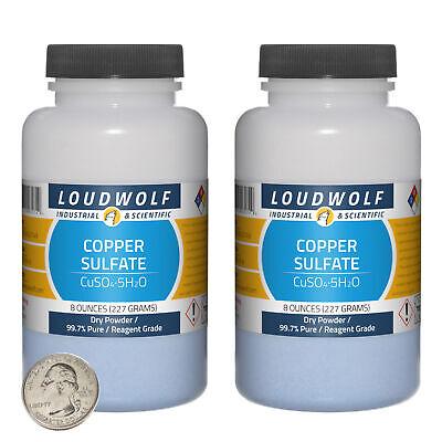 Copper Sulfate 1 Pound 2 Bottles 99.7 Pure Reagent Grade Dry Powder