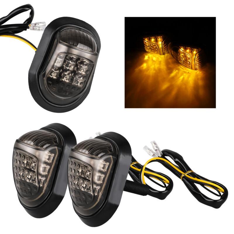 2x 12V Amber Motorcycle 9 LED Flush Mount Turn Signals Indicators Blinker Light