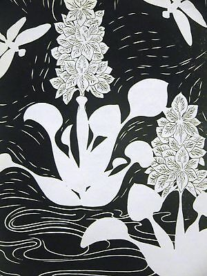 - Don Blanding 1945 WATER LILIES DRAGONFLY Print Matted