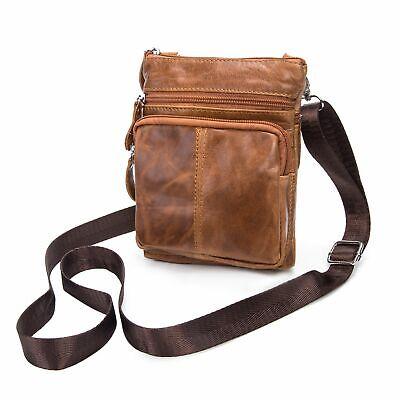 Klein Damen Schultertasche Echtes Leder Umhängetasche Handtasche Tasche Braun