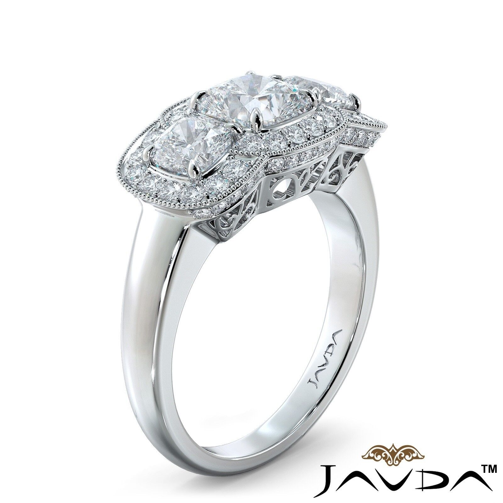 2.25ctw Milgrain Halo 3 Stone Cushion Diamond Engagement Ring GIA I-SI1 W Gold 1