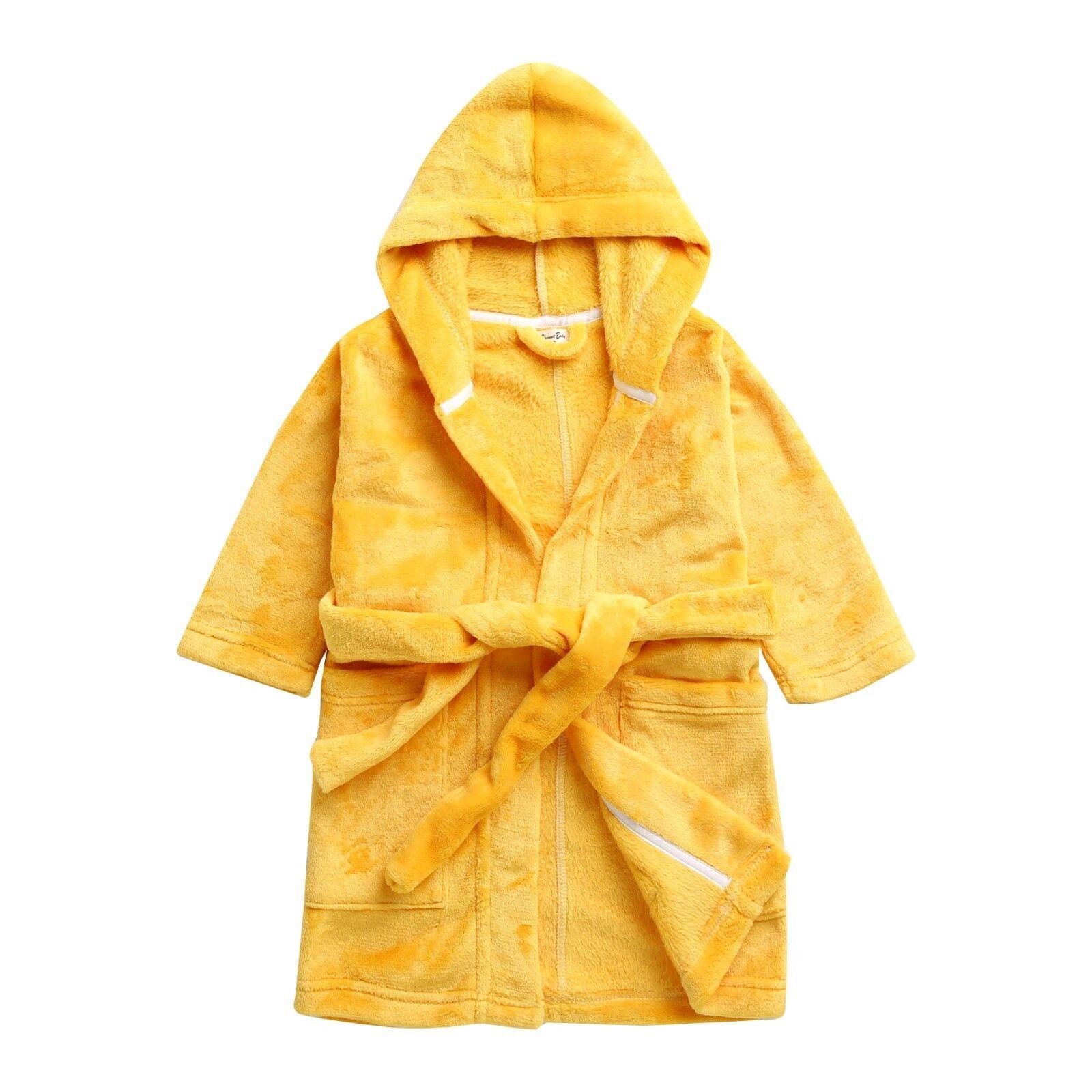 Vaenait Baby Kids Soft Plush Hooded Bathrobes Dressing Gown