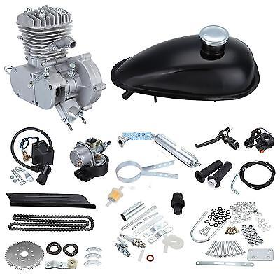 Silver 80cc Bike Bicycle Motorized Cycle Motor Petrol Gas Engine Kit 2 Stroke