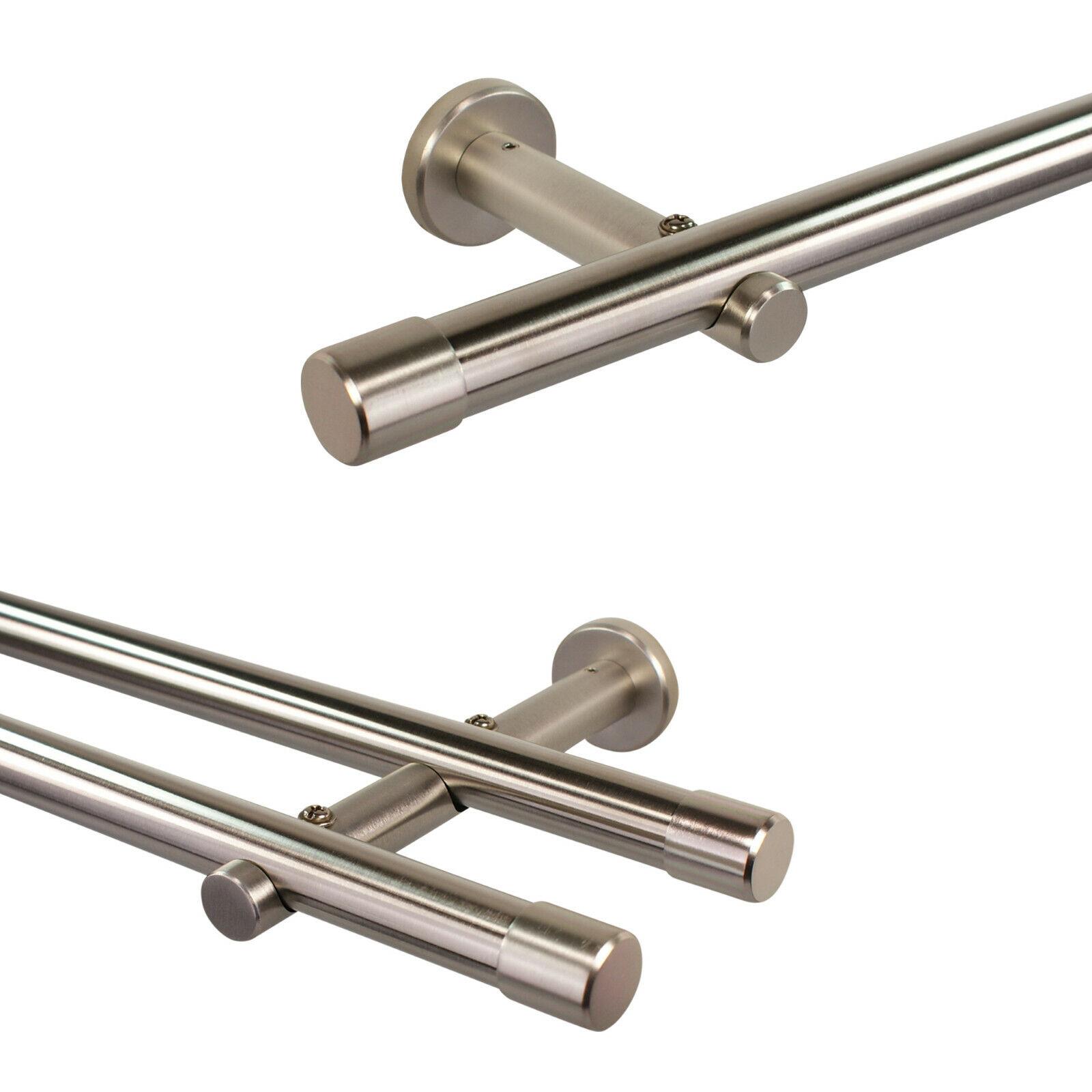 Gardinenstange 20 mm Edelstahl Design, Rohr aus echt Edelstahl, Vorhangstange