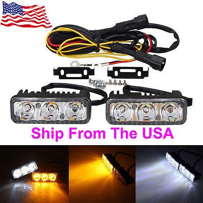 6 LED Daytime Running Light 12V White DRL Amber Turn Signal For Ford F-150 91-16