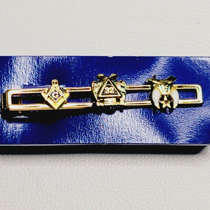 Vintage Goldtone Masonic Tie Bar/Clip 32 Degree Shriners