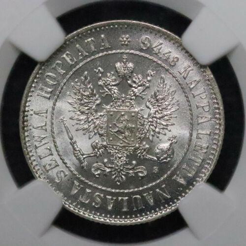 1915-s Finland under Russian Empire Silver 1 Markka NGC MS65 - A101
