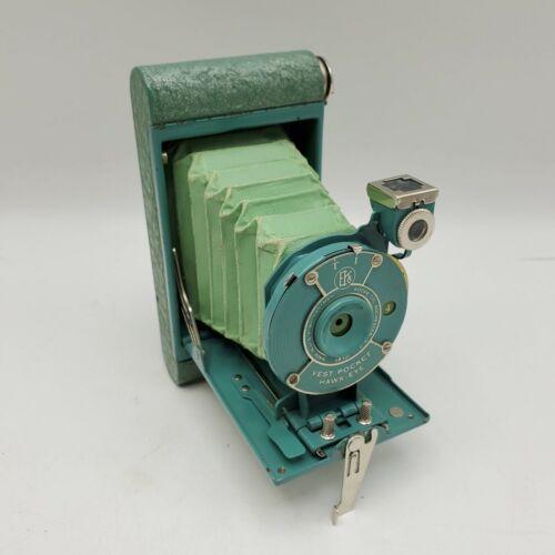 1930s Kodak Rainbow Hawkeye Vest Pocket Folding Camera in Green/Turquoise