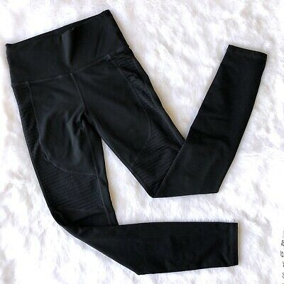 Fabletics Size XS Moto Leggings Yoga Black Full Length Mesh High Rise
