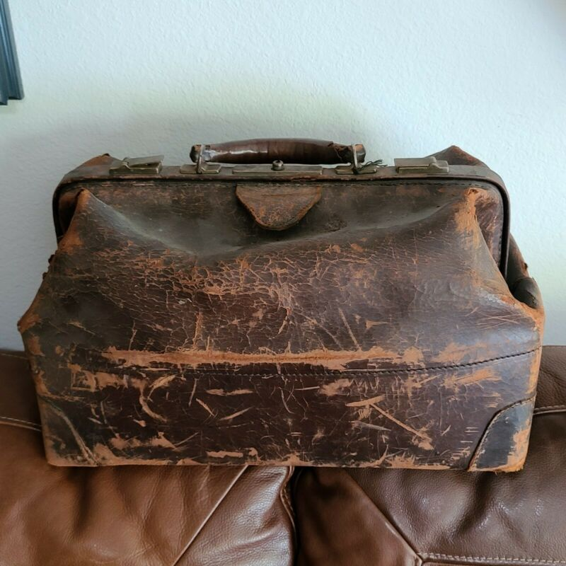 Antique Leather Doctors Bag c1900 Medical