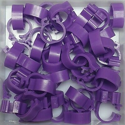 25 x PURPLE 8mm PLASTIC PIGEON LEG CLIP CLICK RINGS