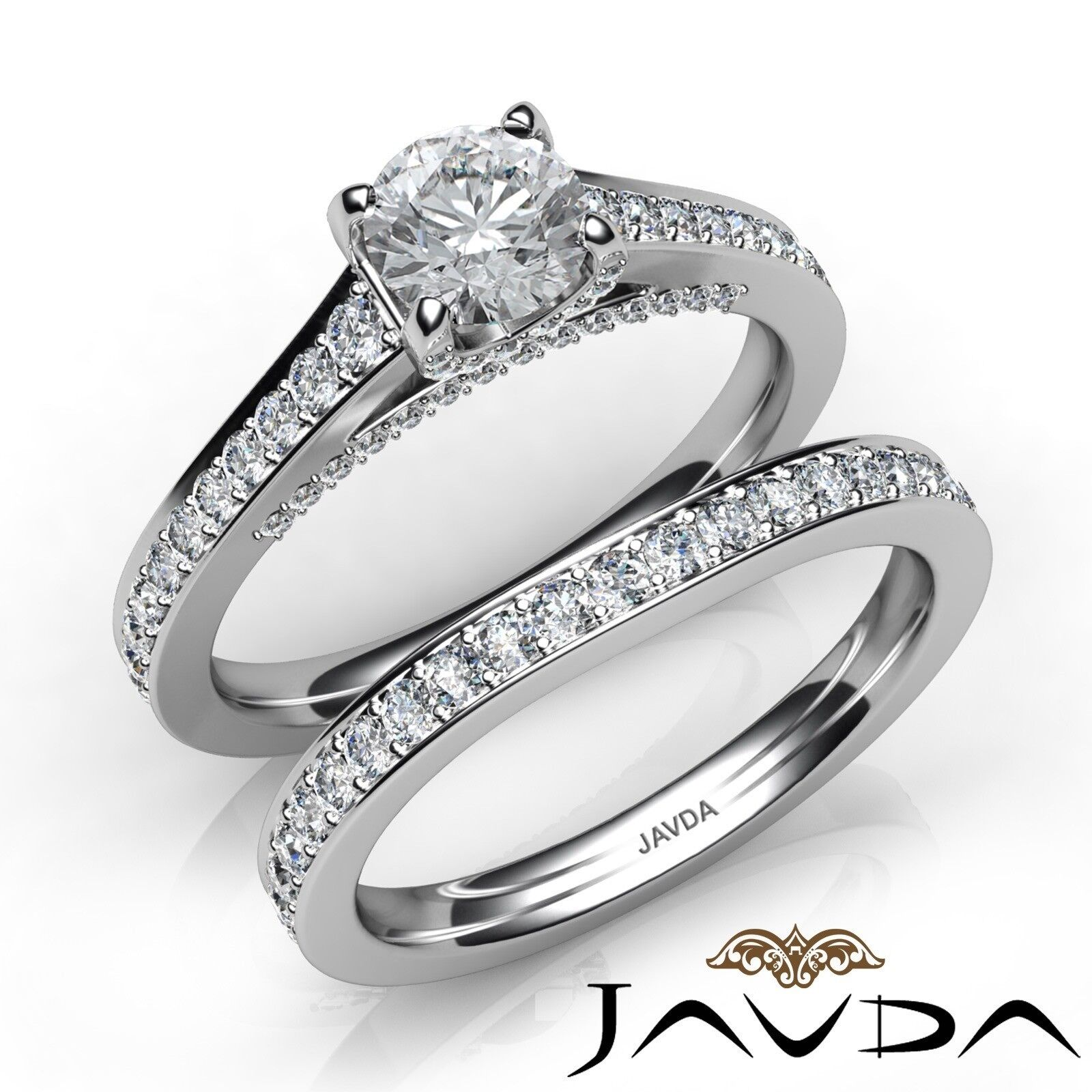 1.65ctw Pave Classic Bridal Set Round Diamond Engagement Ring GIA F-VVS2 W Gold