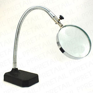 LARGE DESKTOP MAGNIFYING GLASS +HEAVY DUTY STAND+ Flexible Strong Desk Magnifier