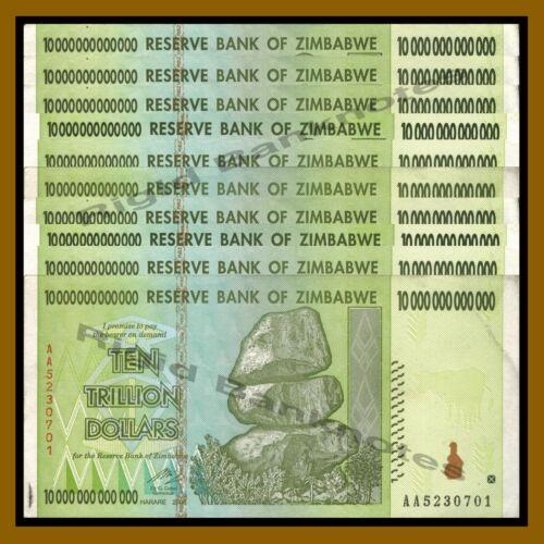 10 x ZIMBABWE 10 TRILLION DOLLAR AA Circulated Used 2008 CURRENCY, 20 50 100