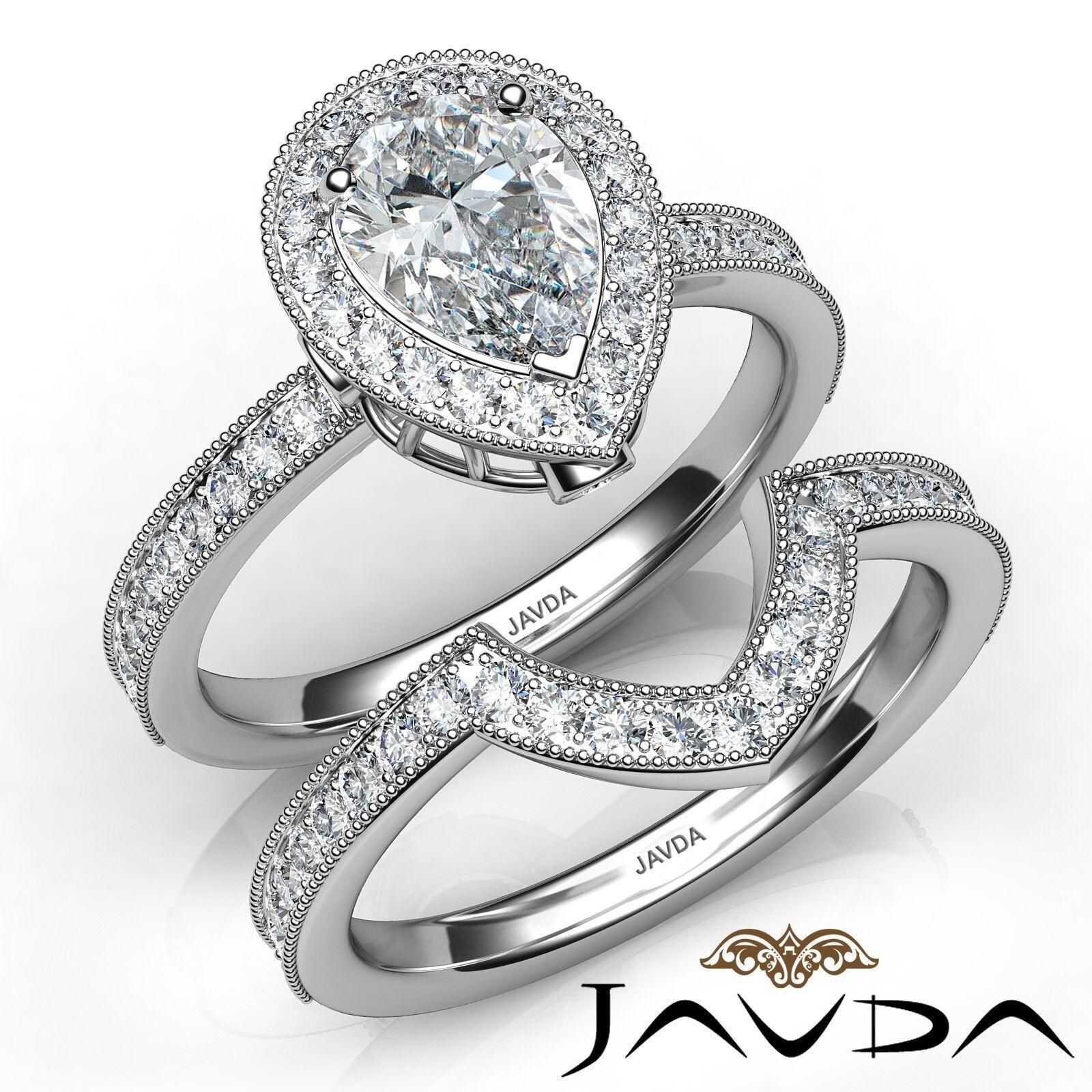 1.94Ct Halo Milgrain Bezel Bridal Pear Diamond Engagement Ring GIA I-VVS1 W Gold