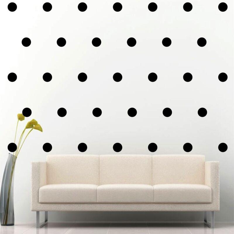 "200 of 2"" Black Polka Dots Circle Peel Stick Removable Wall Vinyl Decal Sticker"