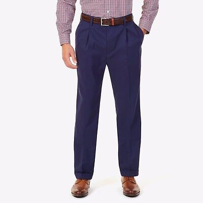 NWT Men's Nautica Rigger Double Pleated Classic Fit Pants New Khaki Navy New