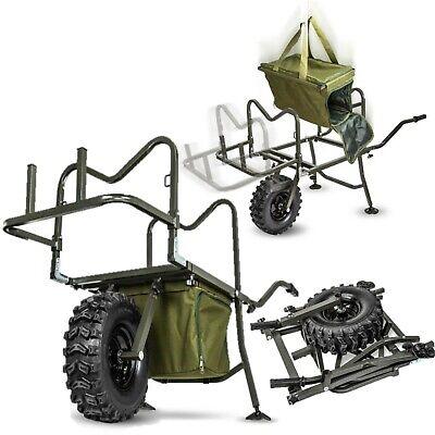 Saber Carp Fishing Wheel Barrow Rugged Terrain Trolley & Bag