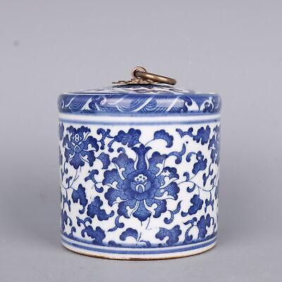 "3.9/""China Jingdezhen Ceramics Blue White Porcelain Flower Pattern Pot Jar Crock囍"