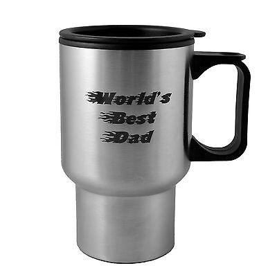 14oz Worlds Best Dad Fire Font stainless steel mug - Worlds Best Dad Mug