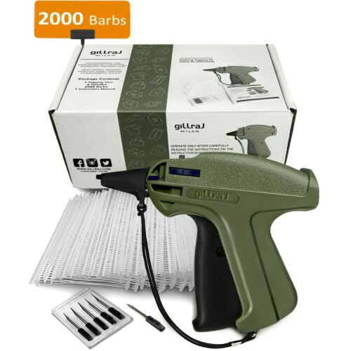"GILLRAJ Clothes Price Tagging Gun with 2000 2"" Standard Size Barbs and 6 Needles"