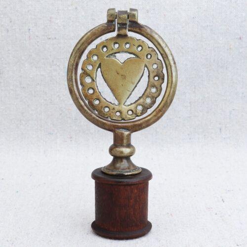 Antique British Pierced Heart Shape Horse Brass Fly Terret Flyer Swinger 1900s