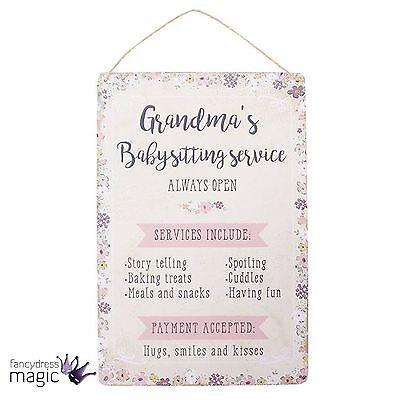Billig Wand-dekorationen (Rustikale Billig Grandmas Babysitting Service Wandbehang Plaketten Schild Schick)