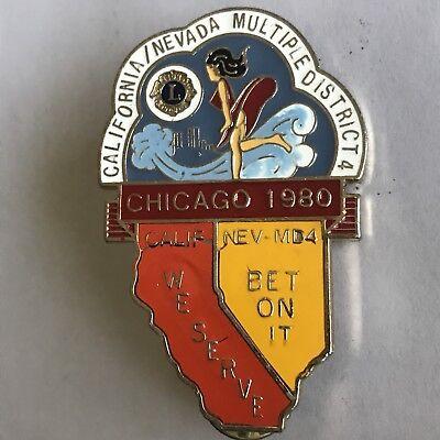 Older Lions Club International Pin MD 4 California Nevada- 1980 Chicago