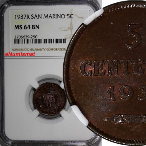 San Marino Bronze 1937-R 5 Centesimi NGC MS64 BN KEY DATE TOP GRADED KM# 12
