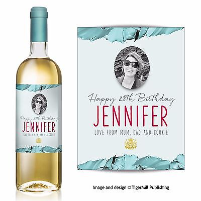 PERSONALISED photo wine bottle label Birthday Wedding Valentine Graduation gift