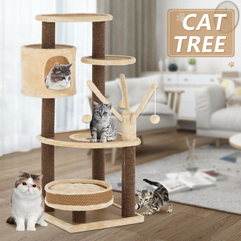 """43"""" Rattan Mat Style Cat Tree Scratching Kitty House with Mats, Enclosure, Condo"""