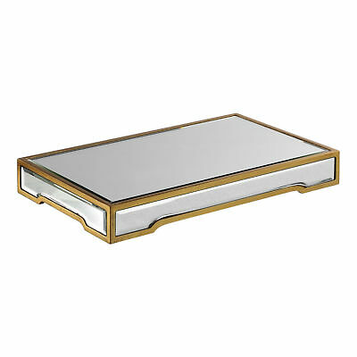 Mid Century Modern Mirrored Glass Gold Decorative Tray | Pedestal Retro Venetian