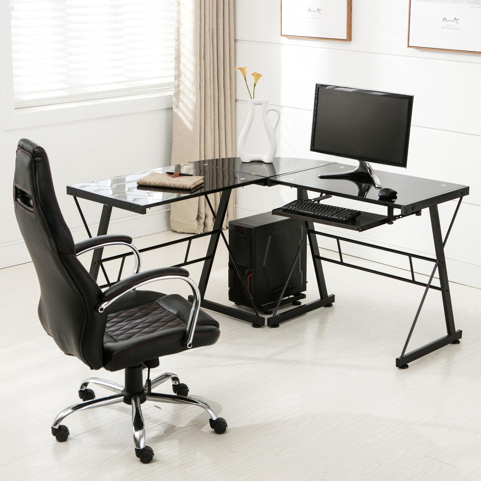 Details about L-Shape Glass Computer Desk PC Laptop Table Home Office  Corner Workstation Black